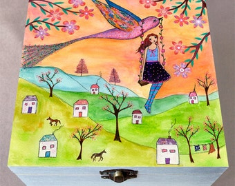 Jewelry Box - Girl and Bird Jewelry Box - Wooden Painted Jewelry Box - Handmade Jewelry Box - Trinket Box