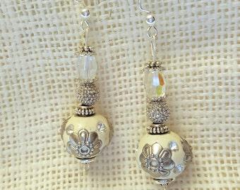 White Morrocan Style Earrings