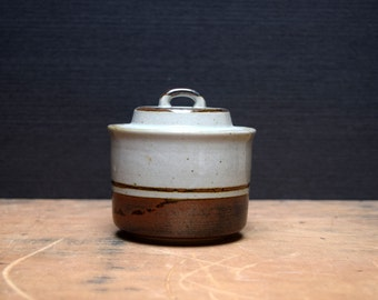 Otagiri Sierra Sugar Bowl with Lid, Japanese Stoneware, Tan with Brown Band