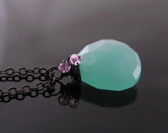 Gem Necklace, Blue Green Chalcedony and Pink Swarovski Crystal Necklace, Gemstone Jewelry, Chalcedony Necklace, Chalcedony Jewelry