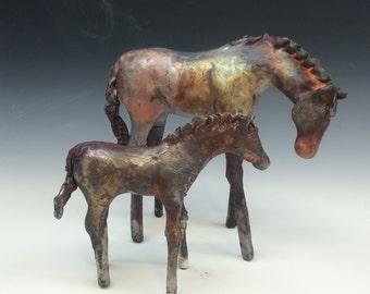Copper Matte Raku Horse 609 FREE SHIPPING