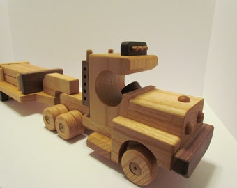 Sale 5 off! Wooden Handmade toys Tractor Lowboy Trailer with  logs red  oak & Walnut  Heirloom Quality Beautifully  finished  Beeswax .