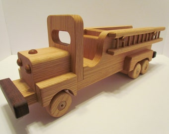 Wooden Fire truck  Handmade toys red  Oak  Heirloom Quality Beautifully hand finished with all natural beeswax  personalize Sale ends today!