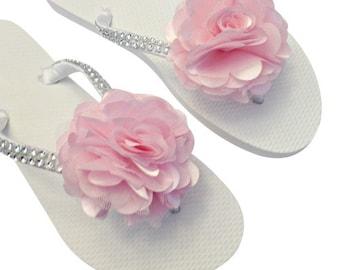 Bridesmaid Flip Flops - Bridal Flip Flops - Rose Pink Wedding - Blush Pink Wedding - Beach Wedding - Light Pink Flip Flops