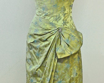 1950s strapless sarong style brocade gown