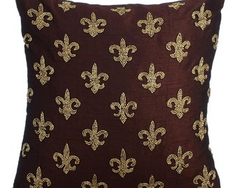 Brown Decorative Throw Pillow Covers Accent Pillow Couch Sofa Toss Pillow 16x16 Inches Brown Silk Pillow Cover Embroidered Fleur De Lis