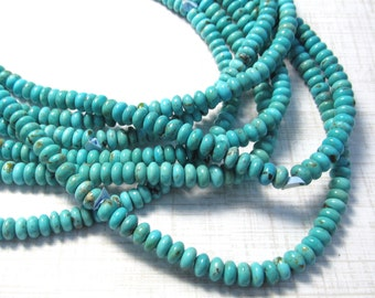 Rare Sleeping Beauty Turquoise Rondelle Beads, Natural Arizona Gemstone 6mm 16 inches