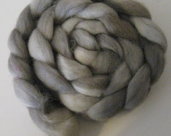 Gray Dreams  Romney Roving (Combed top) - Handpainted Spinning or Felting Fiber, 4 ounces