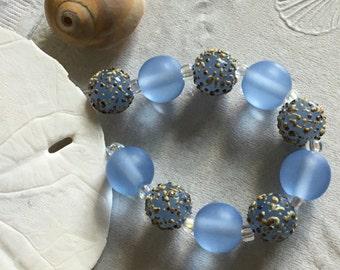Handmade Lampwork Glass Beads SRA Pale Blue Sea Pearl Sandies (10)