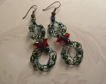 Earrings, Novelty Christmas Earrings, Crocheted Earrings, Christmas Wreath Earrings, Red and Green Earrings, Dangle Earrings, Long Crocheted