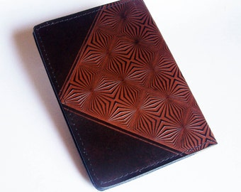 Leather Top-Stub Checkbook Cover with Prism Design - Check Book Holder