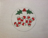 JOY with Holly and Berries Handpainted Needlepoint Canvas Christmas Ornament