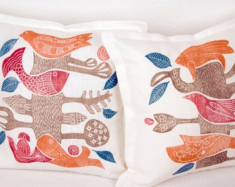 Mothers day, set of 2, cushion covers, Tree of Life I, printmaking, linocut, decorative pillow, covers, orange, beige, white, linen, blue