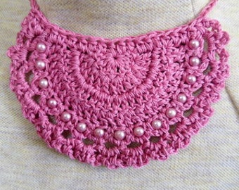 Mauve crocheted half circle necklace with matching beads