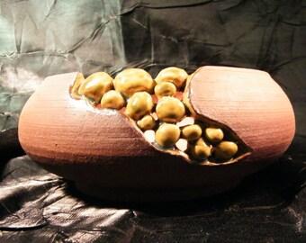 Carved Golden Openwork Pebble Pot by oddartist