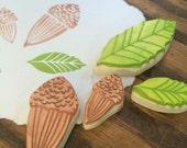 California Oak Leaves and Acorns Rubber Stamp Set