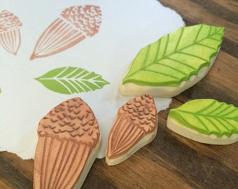 California Oak Leaves and Acorns Rubber Stamp Set