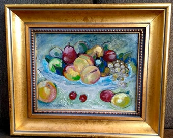 FRUIT still life oil painting on canvas board simple gold frame signed SHABBY CHIC impasto . wall decor . subtle colors . pear peach grape
