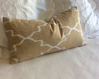 Monaco straw tan decorative lumbar pillow cover 12x22