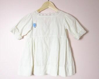Vintage Girls White Cotton Dress Size 5/6