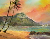 DIAMOND HEAD MORNING Framed Original Oil Painting Art Hawaii Hawaiian Waikiki Beach Tropical Ocean Island Tourist Vacation Sunrise Palm Tree