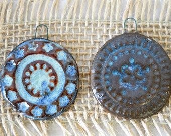 2 handmade Clay Glazed Pendants or Ornaments