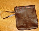 Embossed Southwest/Tribal LEATHER Wristlet Bag
