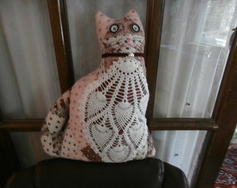 VINTAGE QUILT CAT Ooak Cat Pillow Pinks and Browns with Vintage Crochet Bib
