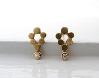 18kt gold and diamond mini-chandelier post earrings