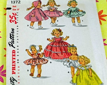 """Vintage Antique Doll Pattern, 1950s Pattern For 8"""" Dolls Including Ginny, Muffy, Alexander-kins Seven Adorable Outfits  #3"""