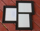 MULTI 3 Opening 8x10 distressed collage picture frame with 2) 8x10's in portrait & 1) 8x10 in landscape position...black....HANDMADE