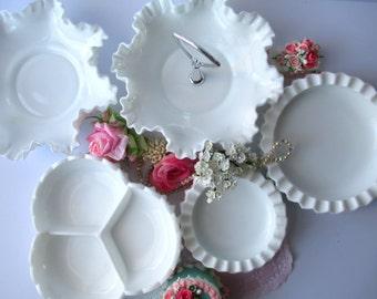 Vintage Fenton Milk Glass Hobnail Serving Set of Five