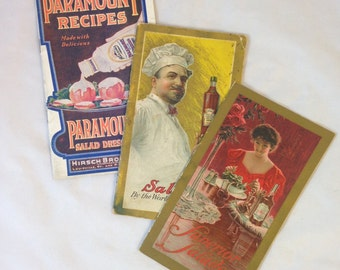 Three Vintage Cookbooks for Salad and Dressings, Superior Salads, Salads by the Worlds Best Chefs, Paramount Recipes with Paramount Dressing