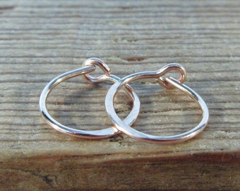 Hoop Earrings Pink Gold Hammered - Sleeper Hoop Earrings, Huggie Hoops, Everyday Hoops, Simple Hoops, Minimal Hoops, Delicate Hoops