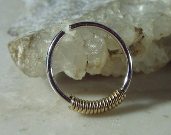 Nose Ring Silver Gold Wrap - Nose Ring, Thin Nose Ring, 24 Gauge Nose Ring, 20 Gauge Nose Ring, 18 Gauge Nose Ring, 22 Gauge Nose Ring