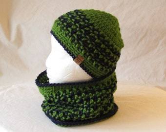 Custom Crocheted Boy's Hat and Cowl Set,