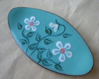 Flower Turquoise Brooch Copper Enamel White Teal Vintage Pin