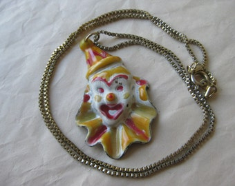 Clown Gold Red White Necklace Pendant Vintage Circus