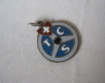 Swiss Touring Club Badge Charm Automobile Silver Blue Gray White Red Vintage TCS Suisse