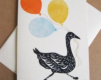 Happy Birthday, original block printed, applique card