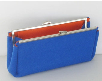 Royal Blue and Orange Felt Clutch Purse - Nickel Purse Frame with optional chain strap - Colorful Modern Minimal Design - Ready to Ship