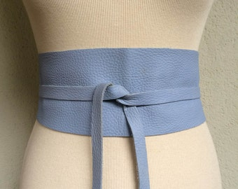 Sky - Handmade Italian Leather Obi Belt - Made to Order