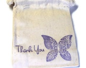 6 Muslin Bags, Purple Thank You Butterfly, Gift Bags, Packaging, 3x4 Inches, Hand Stamped, Party Favor Bags