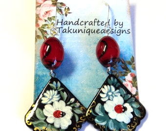 Flower Fans Boho Gypsy Dangle Earrings, Black Green Red White, Silver Plated Earwires, Gift for Her