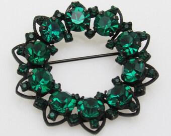 Green Wreath Brooch Emerald Rhinestone Jewelry Joseph Warner P7491