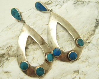 Long Oval Sterling Turquoise Earrings Vintage Jewelry E6985