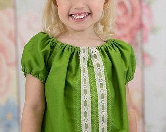 Girls peasant dress - girls dresses - boho dress - boho dress baby - green dress - bohemian dress - boho flower girl dress - tunic dress