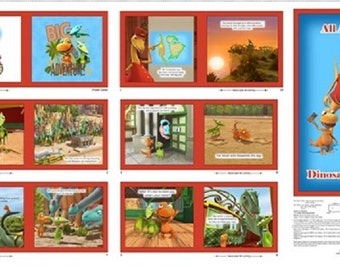 All Aboard The Dinosaur Train fabric Book panel 100% Cotton Quilting Treasures - fabric book panel smoke & pet free