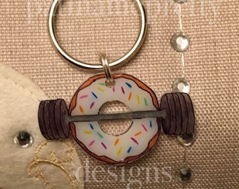 Donuts and Deadlifts Keychain Vanilla Frosted with Sprinkles