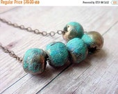 October Sale Rustic Tribal African Brass Bead Necklace with Verdigris Turquoise Patina Boho Bohemian
